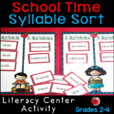 School Words Syllable Sort Literacy Center