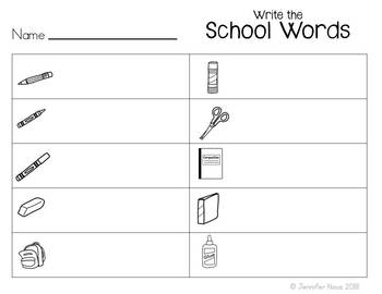 School Words Writing Activity