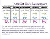 School Work Rating Incentive Chart