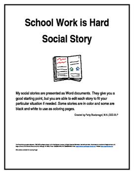 School Work is Hard Social Story