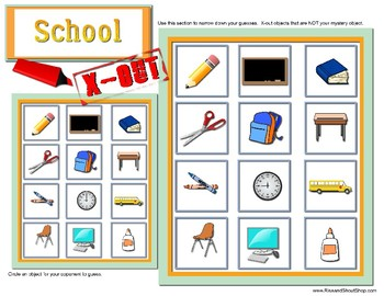 School X-out, a Guess What game, ask questions to find mystery object