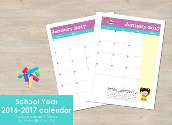 School Year 2016-2017 calendar - 2 pages spread months.