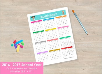 School Year 2016-2017 - one page. Quick reference.