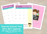 School Year teacher planner. Calendars, planners & extras. 2017 and 2016/2017