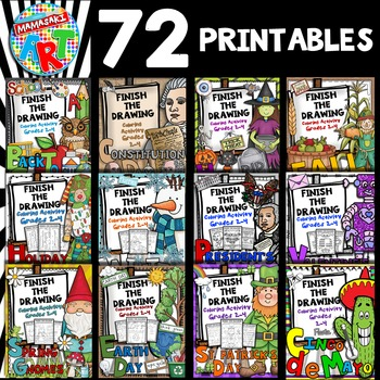 School Year Bundle- Finish The Drawing Coloring and Writing Activities