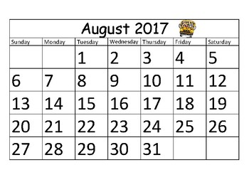2017 - 2018 School Year Calendar with Art
