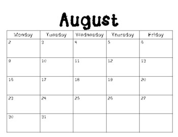 School Year Calendar 2018-2019