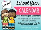 School Year Calendar - Spanish Editable - Calendario del año escolar