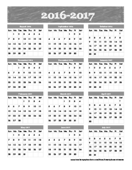 School Year Calendar at a glance 2016-2017