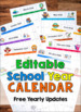 Editable School Year Calendars (2019 - 2020)