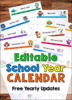 Editable School Year Calendars 2020-2021 (Google Classroom Compatible)