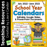 Editable School Year Calendars 2020-2021 (Google Classroom