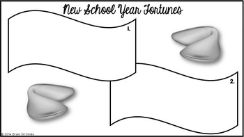 School Year Fortunes -- A Back to School Activity