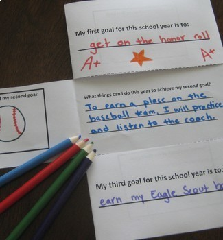 Start of School Year Goal Setting Activity Folded Paper Project