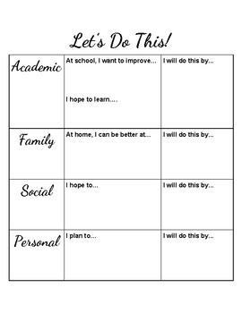 School Year Goals/New Year's Resolution Sheet