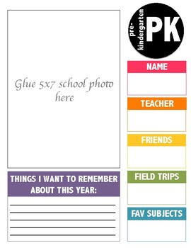 School Year Memory Binder Covers (PK-12th)