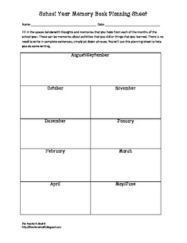 School Year Memory Book Planning Sheet