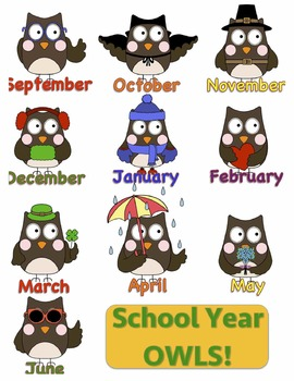 Owl Clipart for the Months of the School Year