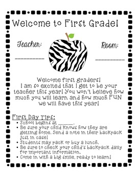 Zebra-Themed School Year Starter Pack (1st Grade)