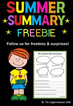 School Year Summer Summary FREEBIE
