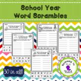 School Year Word Scrambles