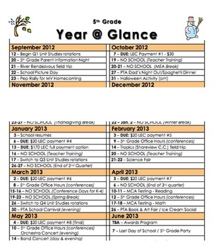 School Year at a Glance reference calendar