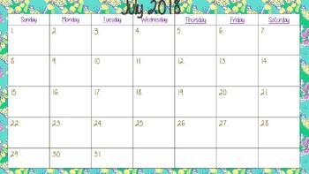 School Year calendar for 2017-2018 school year Different Lilly Pulitzer Designs