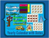 School Year Calendar with Months, Days of the Week, and Dates