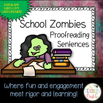 School Zombie Proofreading Task Cards Google Drive Digital and Hard Copy