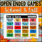 School and Fall Open Ended Games for ANY skill | BOOM CARDS™