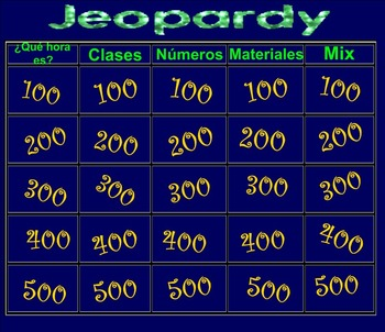 School and telling time Jeopardy Game on Smartboard