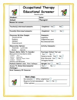 Occupational Therapy screeners+checklists for special education
