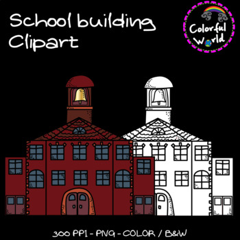 School bus and School building clipart