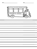 School bus lined writing paper