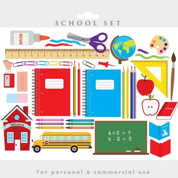 School clipart - classroom clip art teacher pencils scissors ruler blackboard