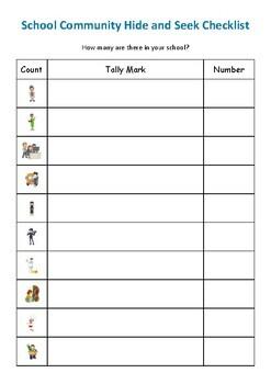 School community hide and seek Data handling worksheet