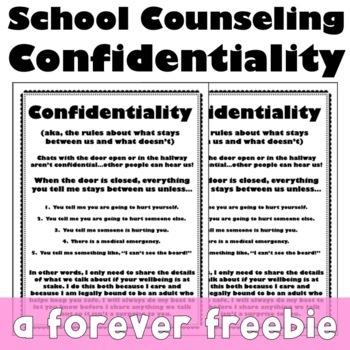 School counseling confidentiality posters