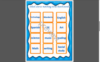 School course unit bingo matching words/pictures board