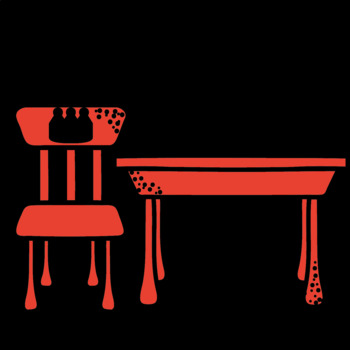 School desk and chairs clipart