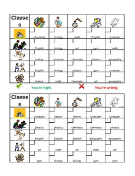 School in English Grid Vocabulary Activity