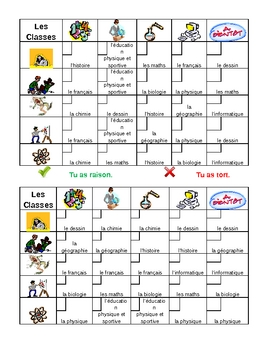 School in French Grid Vocabulary Activity