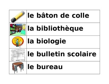 School in French word wall