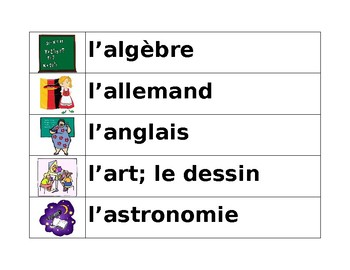 École (School in French) Word Wall