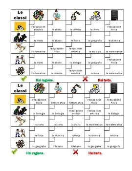 Scuola (School in Italian) Grid Vocabulary Activity
