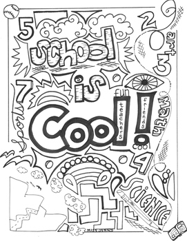 School is Cool coloring page summer fun