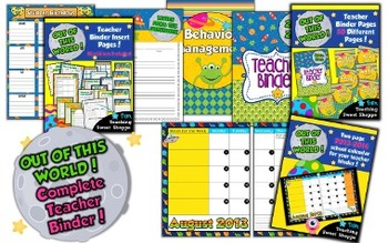 School is Out of This World!  Complete Teacher Binder With Calendar and Inserts!