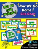 School is Out of This World!  EDITABLE How We Go Home Clip Chart