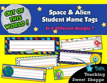 School is Out of This World!  Student Name Tags in 6 Color