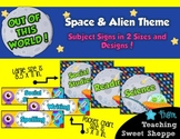 School is Out of This World!  Subject Signs in 2 Sizes & Designs!