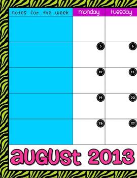 School is Wild!  2-Page Calendar for your teacher binder!